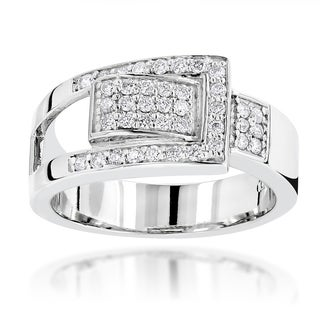 Luxurman Platinum 1/2ct TDW Round Diamond Right-hand Ring (G-H, VS1-VS2)