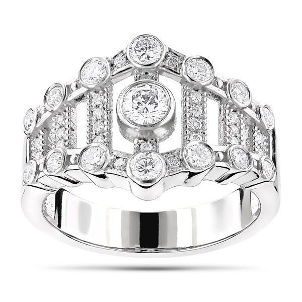 LUXURMAN PLATINUM 0.75CT DIAMOND RIGHT HAND WOMENS RING (G; VS)