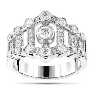 Luxurman Platinum 3/4ct TDW Diamond Right-hand Ring (G-H, VS1-VS2)