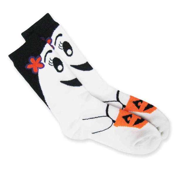 Halloween Women Crew Sock - Trick or Treat Ghost - 1 Pair