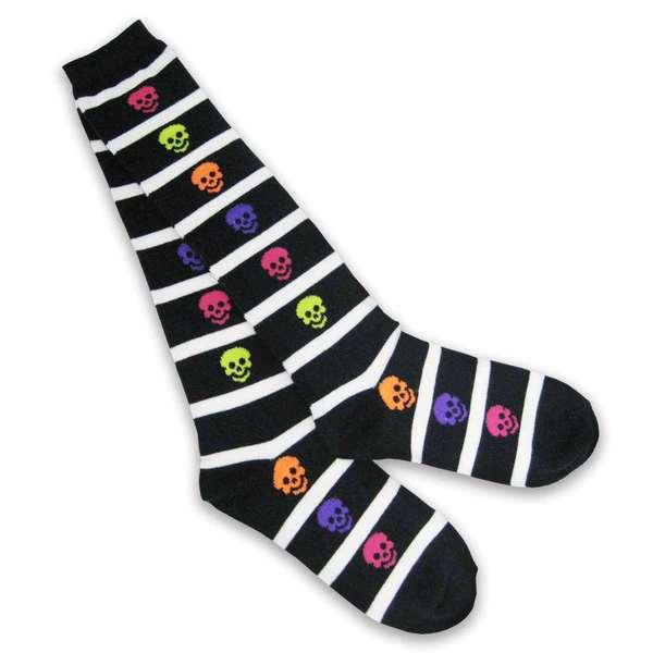 Halloween Women Knee High Sock - Rugby Skelton Stripe - 1 Pair