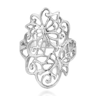 Exquisite Hidden Butterfly In Swirls Sterling Silver Ring (Thailand)