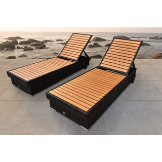 SOLIS Majestic Outdoor Brown Chaise Lounger Wicker Rattan Patio Set
