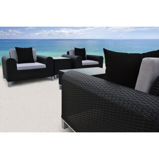 SOLIS Amora Outdoor Deep Seated 5-piece Black Wicker Rattan Patio Sofa Set