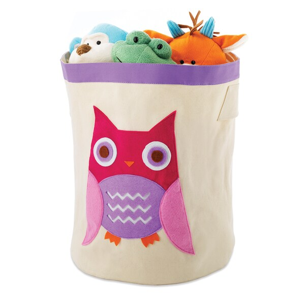 Kid Canvas Storage Bin Pink Owl