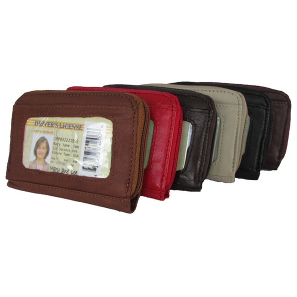 Continental Leather Small Hand Held Women's Wallet with Exterior Window ID and Multiple Credit Card Slots