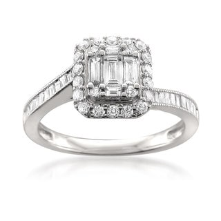 Montebello 14k White Gold 1ct TDW One-of-a-Kind Diamond Ring (G-H, VS2)