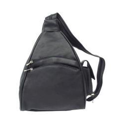 Piel Leather Black Two Pocket Sling Backpack