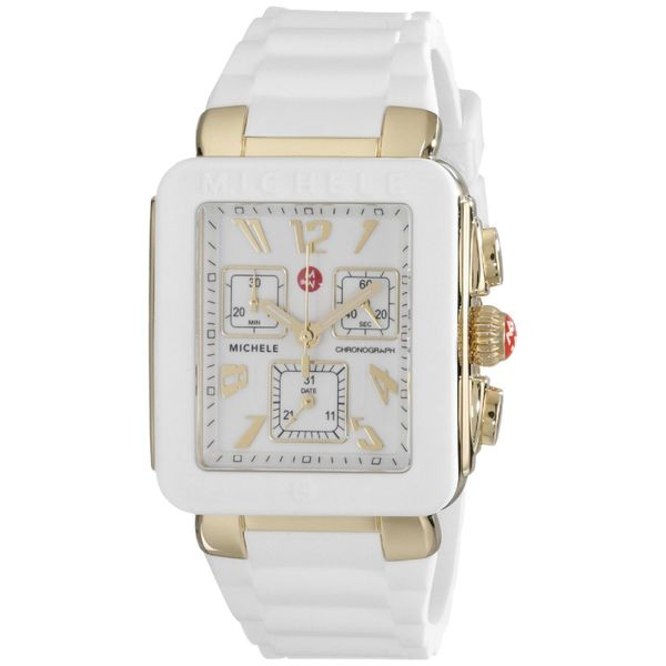 Michele Women's MWW06L000013 'Park Jelly Bean' Chronograph White Silicone Watch