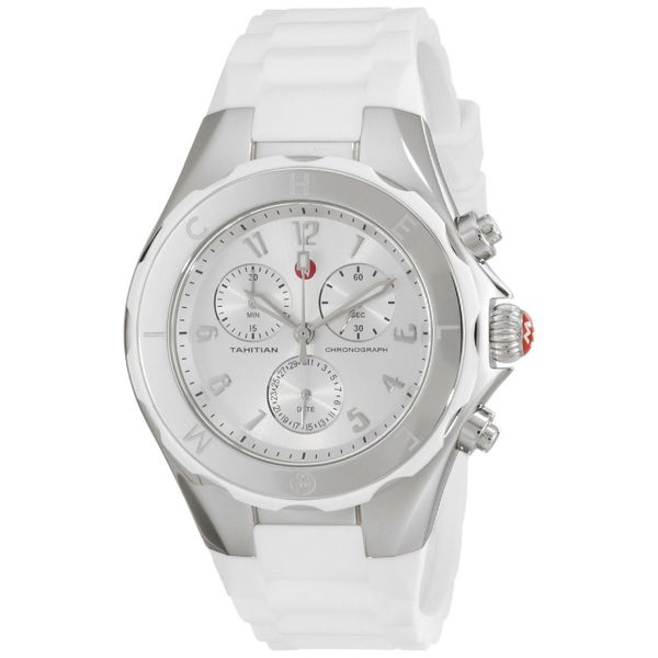 Michele Women's MWW12F000032 'Tahitian Jelly Bean' Chronograph White Silicone Watch