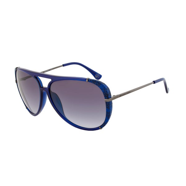 Michael Kors M2484S 414 Julia Crystal Navy Blue Aviator Sunglasses