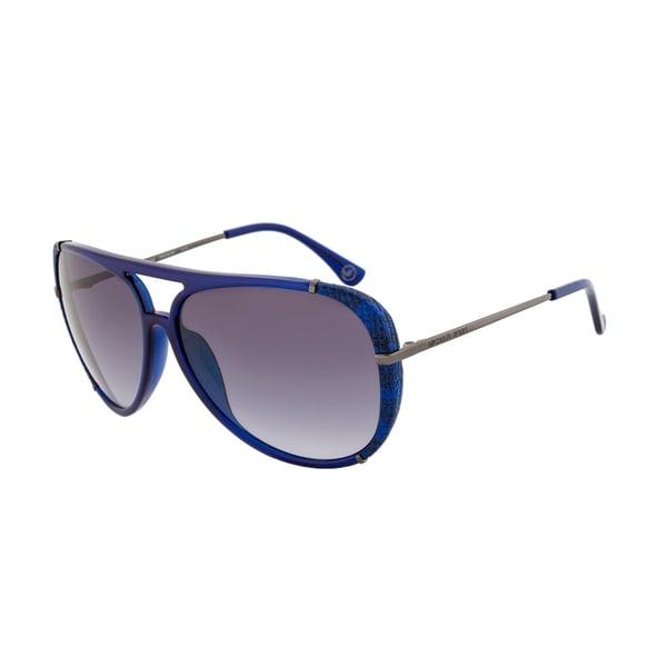 Michael Kors M2484S 414 Julia Crystal Navy Blue Aviator Sunglasses