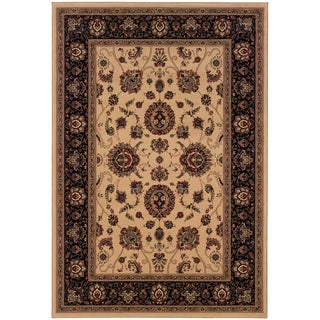 Updated Old World Persian Flair Ivory/ Black Area Rug (7'10 x 11')