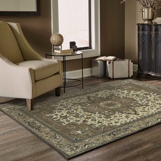 Persian Medallion Ivory/ Grey Area Rug (9'10 x 12'10)