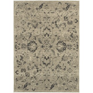 Global Influence Floral Traditional Beige/ Grey Area Rug (9'10 x 12'10)