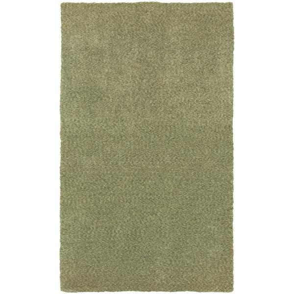 Cozy Indulgence Heathered Green Shag Area Rug (10' x 13')