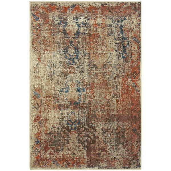 Distressed Traditional Beige Multi Area Rug 9 10 X 12 10