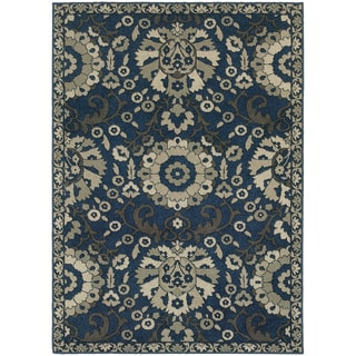 Global Influence Floral Traditional Midnight/ Beige Area Rug (9'10 x 12'10)
