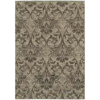 Global Influence Floral Damask Grey/ Ivory Area Rug (9'10 x 12'10)
