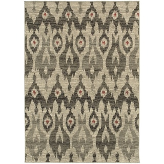 Global Influence Tribal Ikat Ivory/ Grey Area Rug (9'10 x 12'10)