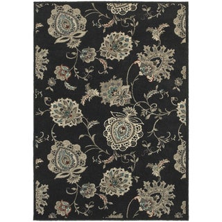 Global Influence Floral Midnight/ Ivory Area Rug (9'10 x 12'10)