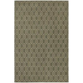 Geometric Lattice Heathered Grey/ Ivory Area Rug (9'10 x 12'10)