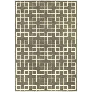 Geometric Trellis Heathered Grey/ Ivory Area Rug (9'10 x 12'10)