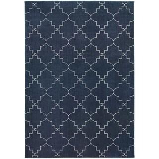 Scalloped Lattice Heathered Navy/ Ivory Area Rug (9'10 x 12'10)