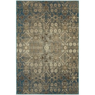 Faded Traditional Beige/ Blue Area Rug (6'7 x 9'6)