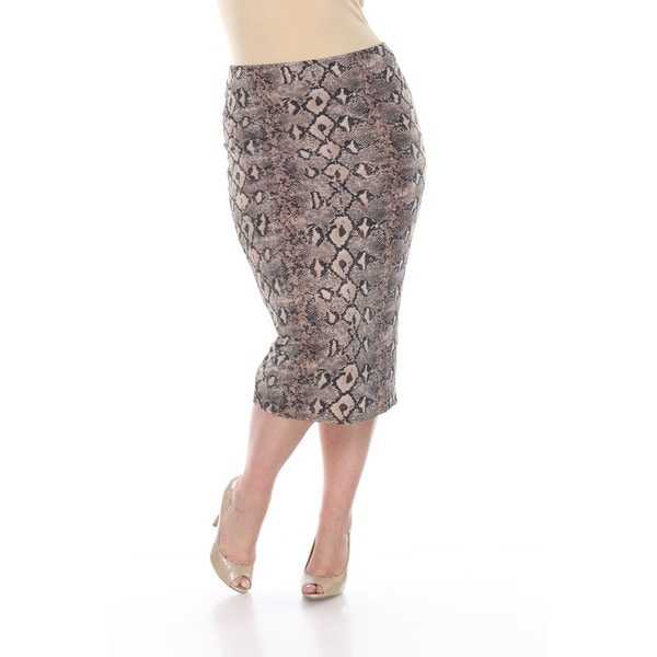 White Mark Women's Plus Size 'Pretty and Proper' Reptile Print Pencil Skirt