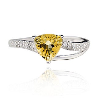 Sterling Silver Yellow Citrine and Cubic Zirconia Trillion-cut Ring (China)