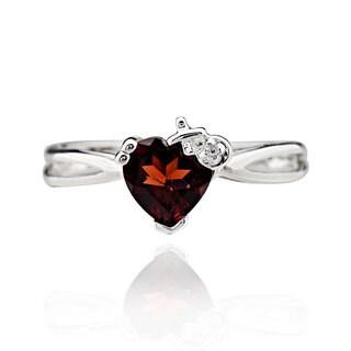 Sterling Silver Heart Garnet Ring (China)