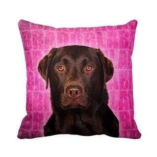 Chocolate Labrador Grunge 16-inch Throw Pillow