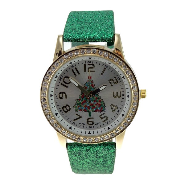 Women's Green Glitter Faux Leather Christmas Tree Watch Crystal Bezel Easy Read Dial 16387406