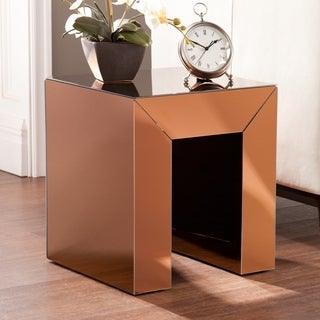 Upton Home Chastain Bronze Mirrored Accent Table