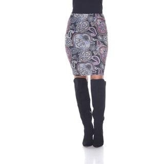 White Mark Women's Pretty and Proper Multicolor Paisley Print Pencil Skirt