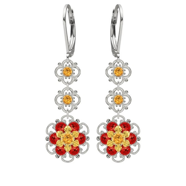Lucia Costin Sterling Silver Yellow/ Red Crystal Earrings 16387449
