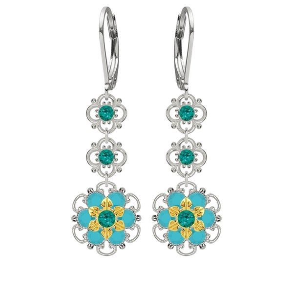 Lucia Costin Sterling Silver Turquoise - Green/ Turquoise Crystal Earrings