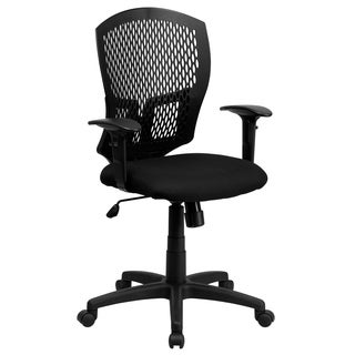 Mid-back Designer Back Task Chair with Padded Fabric Seat and Arms