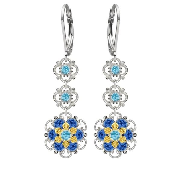 Lucia Costin Silver, Light Blue, Blue Crystal Earrings 16387571