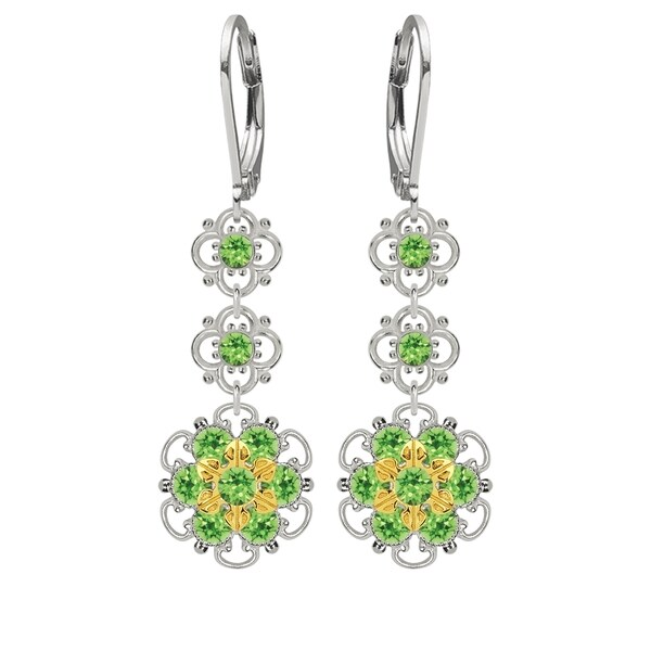 Lucia Costin Sterling Silver Light Green Crystal Earrings 16387611