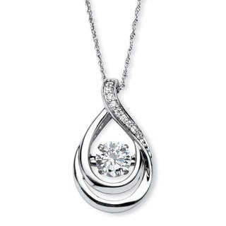 PalmBeach Platinum over Sterling Silver 1ct Cubic Zirconia 'CZ in Motion' Drop Pendant Classic CZ