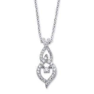 PalmBeach Sterling Silver 4/5ct Marquise-Shaped 'CZ in Motion' Cubic Zirconia Drop Necklace Classic CZ