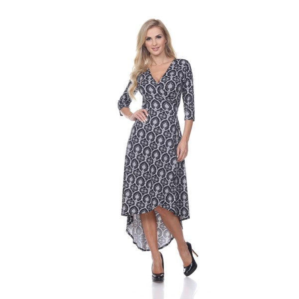 White Mark Women's 'Mariah' Twill Weave Wrap Dress