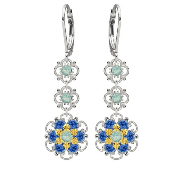 Lucia Costin Sterling Silver Mint Blue/ Blue Crystal Earrings 16387733