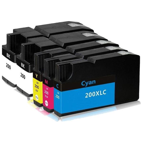 1Set+1BK Lexmark 200XL BK C M Y Compatible Ink Cartridge For Lexmark Pro5500 Pro5500t (Pack of 5)