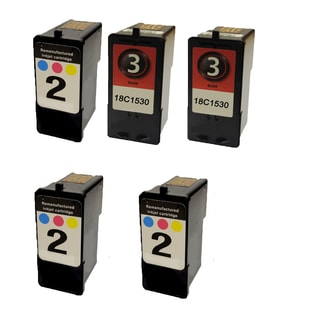 5PK 3 x 18C0190 (#2) 2 x 18C1530 (#3) Compatible Ink Cartridge For Lexmark X2480 X2580 (Pack of 5)
