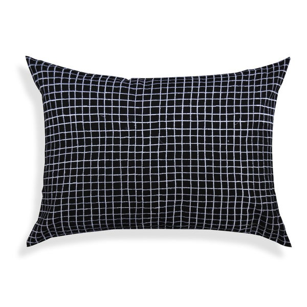 Black and White Grid Oblong Cotton Cushion