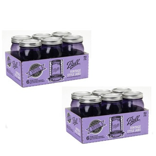 Ball Heritage Collection Purple Quart Wide Mouth Jars (Set of 12)
