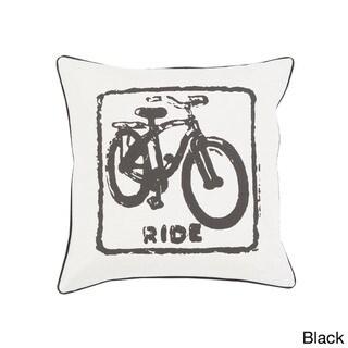 Decorative Delbert Bicycle Printed 22-inch Pillow